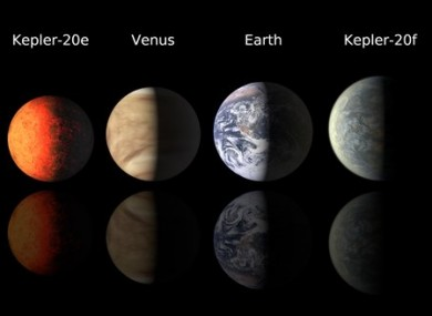 This illustration from the Harvard-Smithsonian Center for Astrophysics shows an artist's renderings of planets Kepler-20e and Kepler-20f compared with Venus and Earth.