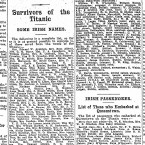 A report on some of the survivors of the Titanic sinking on 21 April 1912.