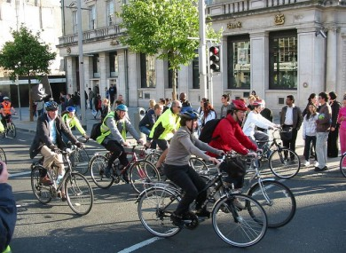 People taking part in the Dublin City Cycle in 2009