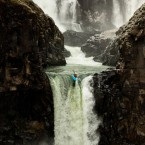 Christie Glissmeyer of Hood River, Oregon is the women's world waterfall record holder - here she is at Celestial Falls on the White River, Oregon. Pic: Tyler Roemer /National Geographic Photo Contest