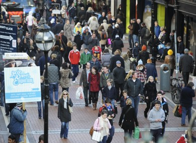Shoppers on Dublin's Grafton Street in December