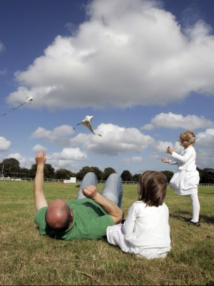 Pictured flying a kite are Ciprian Rabusabca with his daughters three-year-old Miruna and five-year-old Rebecca from Mulhuddart.