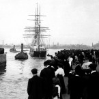 Captain Scott's ship the Terra Nova leaving Cardiff on 1 January 1910 at the start of the race to reach the South pole. (PA Archive)