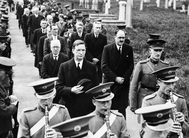 De Valera and his cabinet with Irish soldiers in 1938 prior to the outbreak of World War II