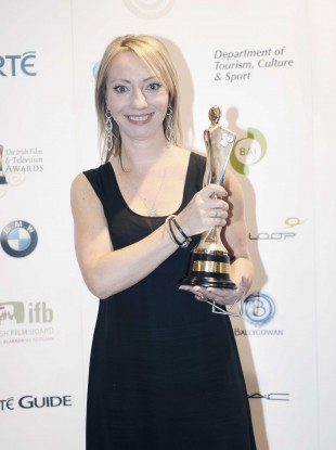Juanita Lynch poses with her IFTA award for Best Director last year. Love/Hate leads this year's TV shortlists with 10 nominations.