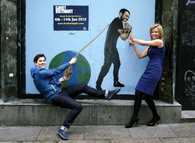 Claire Byrne and Royseven's Paul Walsh with specially comissioned street artwork launching the First Fortnight festival.