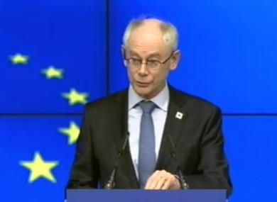 Herman van Rompuy speaking at tonight's press conference