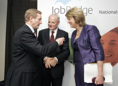 Enda Kenny and Joan Burton at the launch of JobBridge last year