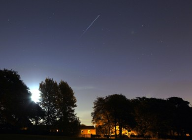 The International Space Station is seen orbiting the earth over Woolton in Liverpool, Merseyside.