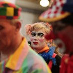 Clowns wearing full costume attending a service in memory of celebrated clown Joseph Grimaldi. (Yui Mok/PA Wire)