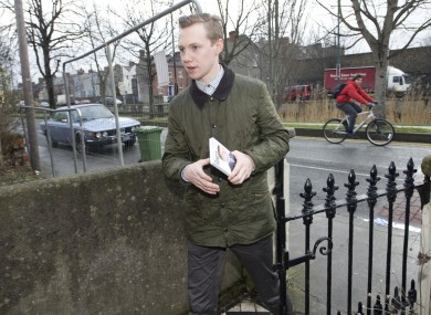 Independent candidate Dylan Haskins on the campaign trail last year.
