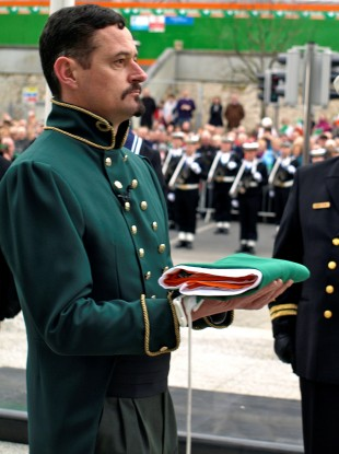Actor Kieran Doyle representing Meagher handing over flag to Irish Navy during the celebrations in 2011