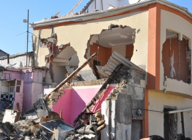 A demolished house in the area behind Heidar Aliyev Hall in central Baku.