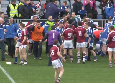 A still from footage of the semi-final violence in O'Moore Park, Portlaoise.