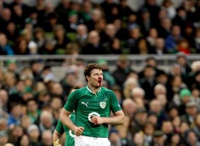 Ireland's Donnacha Ryan with a blood injury.