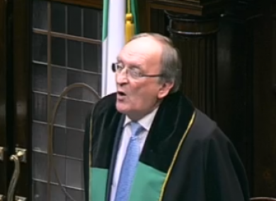 Ceann Comhairle Sean Barrett insisted on proceeding with a vote on suspending Michael McNamara - even though he had already left the chamber.