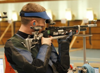 Ray Kane on his way to 6th place in the men's air-rifle
