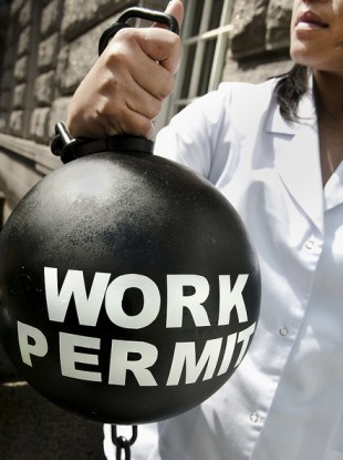 Migrants in Ireland protested in 2010 to be allowed change employer while working on a permit. For a Green Card, a worker must stay with their first employer for at least 12 months.