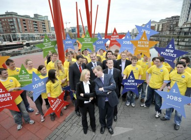 A Fine Gael photocall during the election campaign: a similar event for TDs and Senators, set for yesterday, was scrapped with four hours' notice.