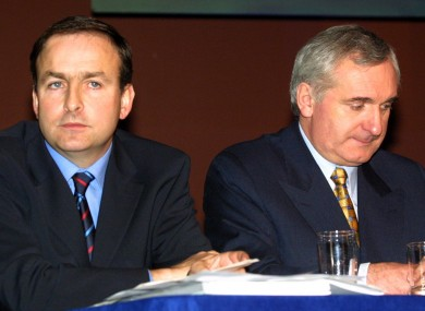 2001 photo of Martin and Ahern.