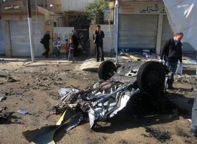 The scene of a car bomb attack in Kirkuk today.