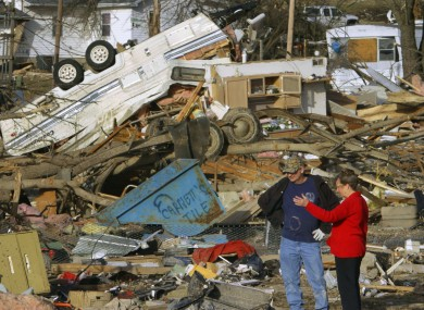 Surveying the storm damage in Harrisburg, Illinois.