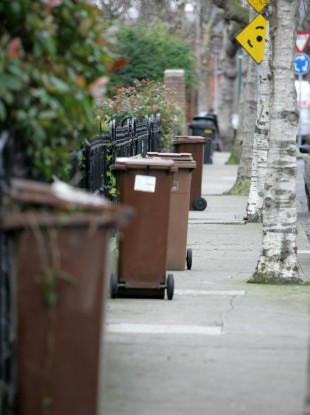 Compost waste bins on a Dublin street this year.