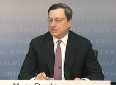 ECB president Mario Draghi said the monthly meeting of the bank's governing council had not discussed the prospect of restructuring the Anglo Irish Bank promissory notes.
