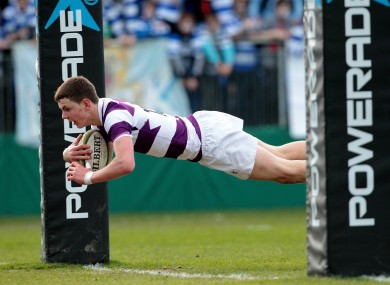 James Lappin scores a try for Clongowes Wood College.