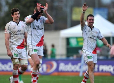 Ulster players celebrate their win.