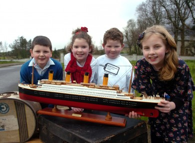 Young relatives of the people from Addergoole who were on the Titanic  at the launch of Mayo Titanic Cultural Week