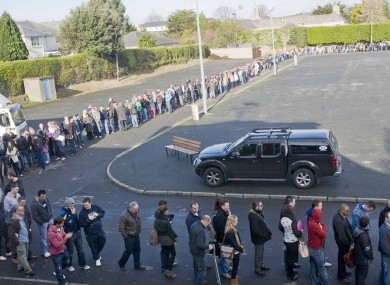 People queuing to get in at the Working Abroad Expo in Dublin at the weekend