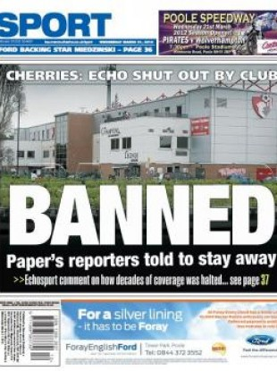 The front page of the Bournemouth Echo last month.