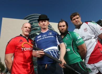 Paul O'Connell, Leo Cullen, John Muldoon and Johann Muller in Dublin for the Heineken Cup launch last year