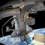 Maintenance work underway at the ISS during Discovery's final mission. (Image: NASA)
