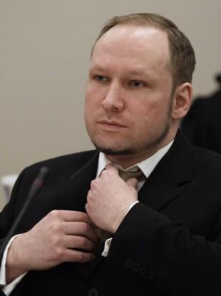 Breivik in court in Oslo yesterday.
