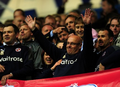 Reading's Manager Brian McDermott celebrates promotion at the end of last night's game.