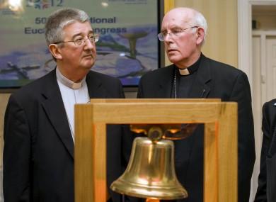 Archbishop of Dublin Diarmuid Martin and Cardinal Sean Brady at the launch of the International Eucharistic Congress 2012 last year