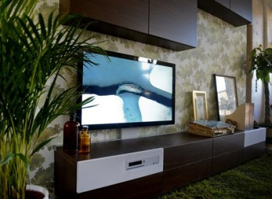 IKEA furniture with integrated TV and sound system.