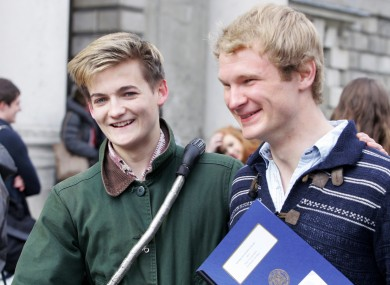 Game of Thrones star Jack Gleeson (L) after achieving a two subject Moderatorship in Philosophy and World Religions and Theology in TCD