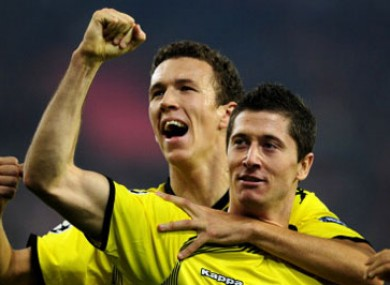 Dortmund players celebrate.