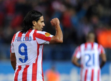 Falcao: leading the line for Atletico.