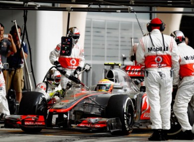 Lewis Hamilton drives in for a pitstop during the Bahrain Formula One GP.