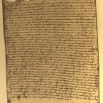 "This is a unique image because it shows what the medieval Irish chancery rolls looked like before they were destroyed. The jagged edge at the top of the image is where one membrane of sheepskin (parchment) was stitched to the next and rolled up to create a chancery roll.   The original is in Latin. In translation it reads:   ""Memorandum that all the rolls of the Irish chancery with writs, inquisitions, bills and all memoranda touching the said chancery from the time of master Thomas Cantok, formerly chancellor of Ireland [appointed chancellor on 28 October 1291], up to the twenty-eighth year of the reign of Edward I [1299–1300] were burned by accident in the abbey of St Mary near Dublin in the great fire in that abbey, except two rolls of the twenty-eighth year, one of writs patent and the other of writs close."""