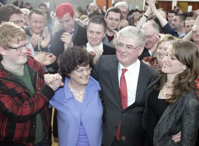 Eamon Gilmore celebrates his election in Dún Laoghaire with his family last year. If Dún Laoghaire loses another seat in the constituency commission, it could end up electing only two TDs next time.