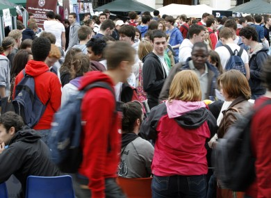Students at Trinity College's Freshers' Week last year. The HEA has warned that colleges will need significantly higher funding if they are to cater for growth in the national population.