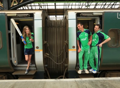 Model Aoife Cogan teams up with international cricketers Max Sorensen and Alex Cusack to mark one month to go until the RSA Challenge between Ireland and Australia in Belfast.