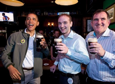 Henry Healy with publican Ollie Hayes and President Obama last year