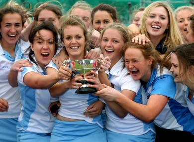 The UCD team celebrate victory over Loreto in the Electric Ireland Women's Irish Senior Cup Final at Belfield this weekend.