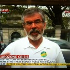 Sinn Féin president Gerry Adams speaks to Sky News this afternoon.   Image: Sky News